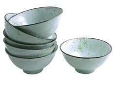 Green Cherry Blossom Medium Rice/Soup Bowl Set