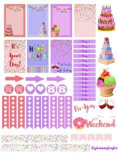 Birthday Free printable Mambi happy planner