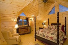 Outlaw Ridge    Cabin Rentals of Georgia - Upper Level Queen Suite with Elegant Decor and View of Toccoa River & Mountains