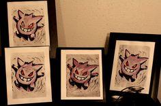 Pokemon: Gengar Watercolor Print 8x10 Painting by GeekyCrafters