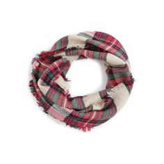 SheIn(sheinside) Red And Green Plaid Raw Edge Infinity Scarf (161.505 IDR) ❤ liked on Polyvore featuring accessories, scarves, green scarves, tube scarves, loop scarves, infinity scarves and infinity scarf