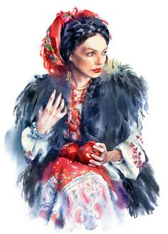Watercolor portrait of a woman dressed with ukrainian ethnic fashion style.