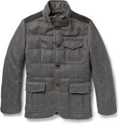 BerlutiDown-Filled Cashmere Herringbone Coat
