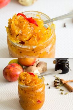 SPICY MANGO CHUTNEY This spicy mango chutney is a delicious way to enjoy fresh seasonal mangoes. Grated mangos cooked in a sugar syrup made with chilly and spices bursting with fresh flavor. Sandwich Chutney Recipe, Chutney Recipes, Jam Recipes, Curry Recipes, Vegetarian Recipes, Cooking Recipes, Mango Recipes Vegan, Recipes With Mango, Ginger Chutney