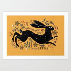 Hare constellation, created with ink and watercolour. Mustard, hare, rabbit...