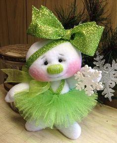 Primitive HC Raggedy Christmas Sugarplum Snowflake Snowman Snow Girl Doll Lime #IsntThatCute #Christmas