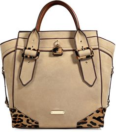 Leather / Hair-calf Manor Tote in Honey | Detailed with eye-catching animal print haircalf trim, this luxe leather tote from Burberry London is a chic way in polish your outfit - Tan leather, animal print haircalf, top zip closure, double top handles, inside zippered back wall pocket, front wall slot pockets, characteristic check lining - Style with a slim cut trench or luxe biker jacket and pointed-toe pumps | #Burberry #leathergoods #handmade #leatherwork #totebag