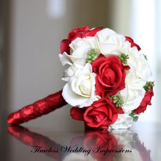 Red Bridal Bouquet Christmas Wedding Roses Real Touch Flowers