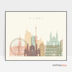 With this incredible pastel poster of Vienna skyline, you can start your own travel gallery wall. Enhance your home or office with this contemporary, minimalist wall art. The sizes are shown in the SIZE drop below the menu and above the ADD TO CART button and they begin from 5x7 inches