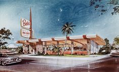 Architect's Rendering of Bob's Big Boy Restaurant - San Jose, CA 1966 by hmdavid, via Flickr