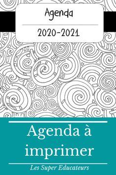 Planifiez votre année avec cet agenda imprimable noir/blanc (existe aussi en arc-en-ciel et vintage)  #agenda #planification #planifier #2020 #scolaire #supereducateurs #mieuxenseigner