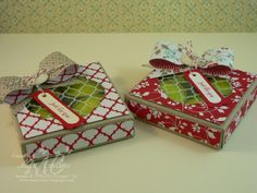 Cute tealight boxes & bows made with the Stampin Up envelope punch board. Pretty gift by Mae Collins