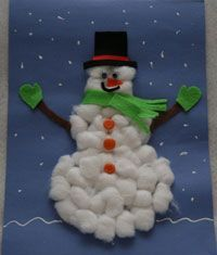 "What you'll need:          	Blue construction paper or card stock     	Cotton balls     	Glue     	Scissors     	1 brown pipe cleaner     	Green, black and orange felt     	2 googly eyes     	3 buttons     	White 3-D paint               How to make your Cotton Ball Snowman Craft           	Use the glue to ""draw"" three circles on the blue construction paper          as an outline of your snowman.  Fill the circles in with glue.     	Stick cotton balls in the glue circles to form your ..."
