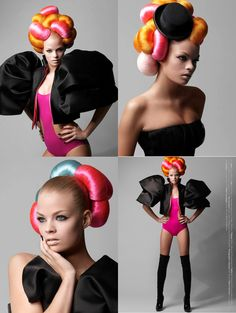 Bold choices in hair can be the ultimate accessory. While these neon netted buns may be a little out of your wildest comfort zone they are great for inspiration. This look is graphic art, modern, a...