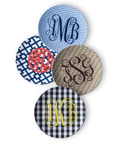 Not a huge monogram gal - but think these melamine plates are so much fun!