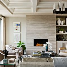 Contemporary Stone Fireplace Design Ideas, Pictures, Remodel and Decor