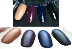 "Doppelganger from Cult Nails Images from CultNails.com  Doppelganger is another sheer top coat that transforms your existing polish by giving it a ""dusty"" feel while adding a familiar multicolored shimmer.  (Shown over Crusin' Nude, Vicious, Time Traveler and Nevermore.)"