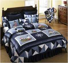 Nautical Flag Quilt Patterns Donna Sharp Lighthouse Tour Nautical Patchwork Twin Quilt Nwt Throw In Home Garden Bedding Quilts Bedspreads Coverlets Nautical Quilts Patterns Nautical Quilt Patterns Bab Beach Bedding Sets, Nautical Bedding, Nautical Quilt, Coastal Bedding, Comforter Sets, Navy Bedding, Luxury Bedding, Donna Sharp Quilts, Lighthouse Decor