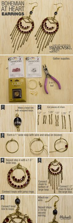 Create a pair of bohemian style earrings with this easy step by step guide.
