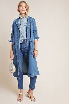 Petite Anthropologie Peggy Denim Duster Jacket in Blue Size: Xs P, Women's Jackets Long Denim Shirt, Long Denim Coat, Denim On Denim, Denim Duster, Duster Jacket, Denim Outfit For Women, Denim Outfits, Jean Outfits, Women's Jackets