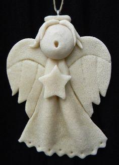 Choir Child Singing Angel Salt Dough Ornament - Natural Finish Salt Dough