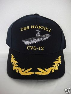 c25c7522aac Navy captain ship ball cap USS hornet CVS-12 hat scrambled eggs officer USA