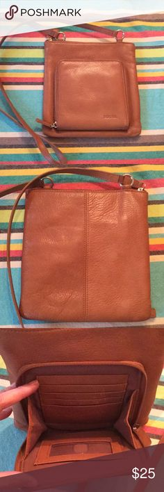 Fossil cross body shoulder leather purse Like new. Great condition.  With organizer on front. Fossil Bags Crossbody Bags