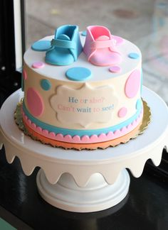 Baby Booties Gender Reveal Cake | Whipped Bakeshop