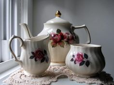 Vintage Sadler Teapot Creamer and Sugar Bowl from by jonscreations on Etsy