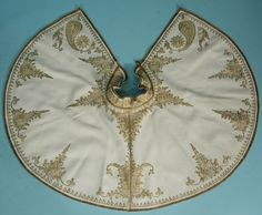 c. 1895 Museum Deaccessioned Ottoman Gold Metallic Thread Couched Embroidery on Ivory Wool Capelet