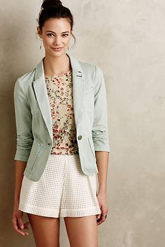 Mint Washed Chino Blazer by Cartonnier - anthropologie.comWoven cotton-spandex Front pockets Button front Machine wash Imported Style No. 4115581480099