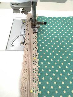 Sew lace edge zip