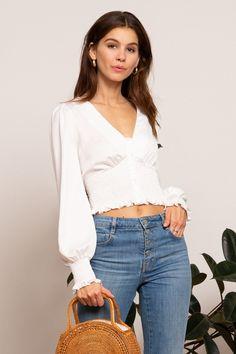82898c5702 LUCY PARIS - Sivan Button Top #white #blouse #parisian #womens #fashion