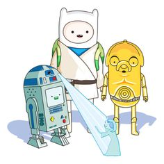Adventure Time and Star Wars. The only way I would watch Star Wars. Adventure Time Crossover, Art Adventure Time, Cartoon Network, Disney Pixar, My Little Kids, Humour Geek, Humor, Adveture Time, Finn The Human