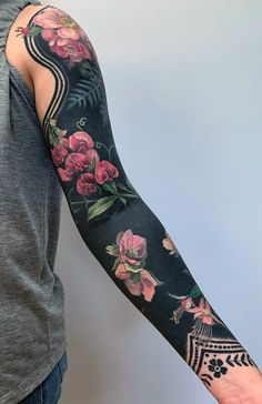 Delicate Flowers Blossom From Inky Black Backgrounds in Esther Garcia's Stylized Botanical Tattoos - Delicate Flowers Blossom From Inky Black Backgrounds in Esther Garcia's Stylized Botanical Tattoo - Esther Garcia, Blackout Tattoo, Body Art Tattoos, Cool Tattoos, Hip Tattoos, Stomach Tattoos, Celtic Tattoos, Tatoos, Forearm Tattoos