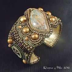 Texas Gold  Bead Embroidered Cuff Bracelet by DealanDeDesigns, $148.00