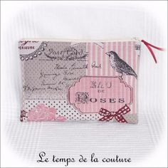 Pochette trousse plate - zippée - Tons d'écru, rose, bordeaux et noir