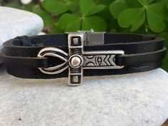 Hey, I found this really awesome Etsy listing at https://www.etsy.com/listing/266280137/leather-cross-bracelet-unisex-cross