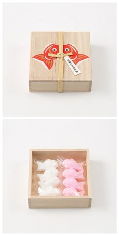 Wooden box with koi stamp Wood Packaging, Dessert Packaging, Vintage Packaging, Food Packaging Design, Pretty Packaging, Brand Packaging, Label Design, Box Design, Japanese Packaging