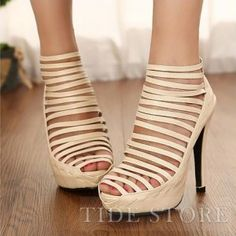 95192059eee Shop Pretty Hollow Out PU Upper High Heels Platform Women Pumps on sale at  Tidestore with trendy design and good price. Come and find more fashion  Sandals ...