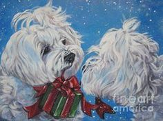 Maltese Art - Maltese Christmas by LA Shepard