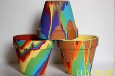 DIY rainbow paint terra-cotta pots