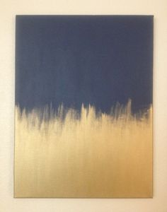 DIY Artwork- Navy and Gold Painted Canvas