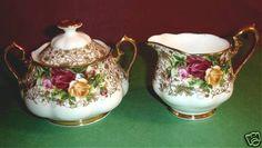 Royal Albert OLD Country Roses Lace Sugar Bowl Creamer NEW