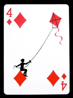 """The Four of Diamonds"", paper, 24"" x 17.125"", © 2011 Emmanuel Jose"