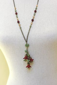 Deep Red Lucite Flower Necklace Floral Charm by apocketofposies