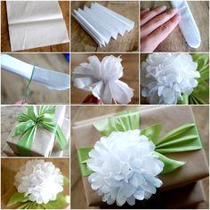 kwiatek jako ozdoba do wstążki na prezent