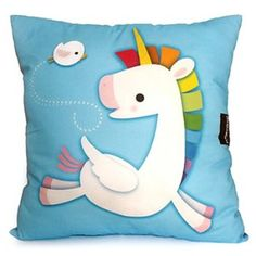 Yay Unicorns!! Your room will be all rainbows and happiness with this adorable big and fluffy throw pillow by mymimi!
