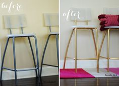 One trademark of IKEA furniture, unfortunately, is that the legs of chairs and tables tend to be pretty standard—even boring. In this simple spray-paint DIY, Brenda took her inexpensive chairs and added a simple touch of sophisticated gold. Painted Bar Stools, Diy Bar Stools, Diy Stool, Metal Bar Stools, Painted Chairs, Bar Chairs, Ikea Chairs, Room Chairs, Dining Chairs