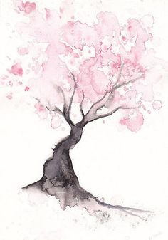 Cherry Blossom Tree Print Watercolor Painting Print Spring Tree Gift Bedroom Decor Wall Art Cherry Blossom Decor Home Wall Decor Aquarell Wasserfarben Cherry Blossom Decor, Blossom Trees, Cherry Blossoms, Watercolor Walls, Watercolor Trees, Watercolor Tattoo, Watercolor Illustration, Tree Illustration, Watercolor Animals